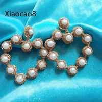 Gold Rhinestone Heart Pearl Dangle Earrings Pendientes 2019 Fashion Jewerly for Women Girls Trendy Statement Wedding Earring
