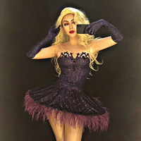 Rhinestones Stage Dance Costume Female Singer Dress Feather Tutu Skirt Rave Outfit Women Nightclub Performance Clothing DN3207