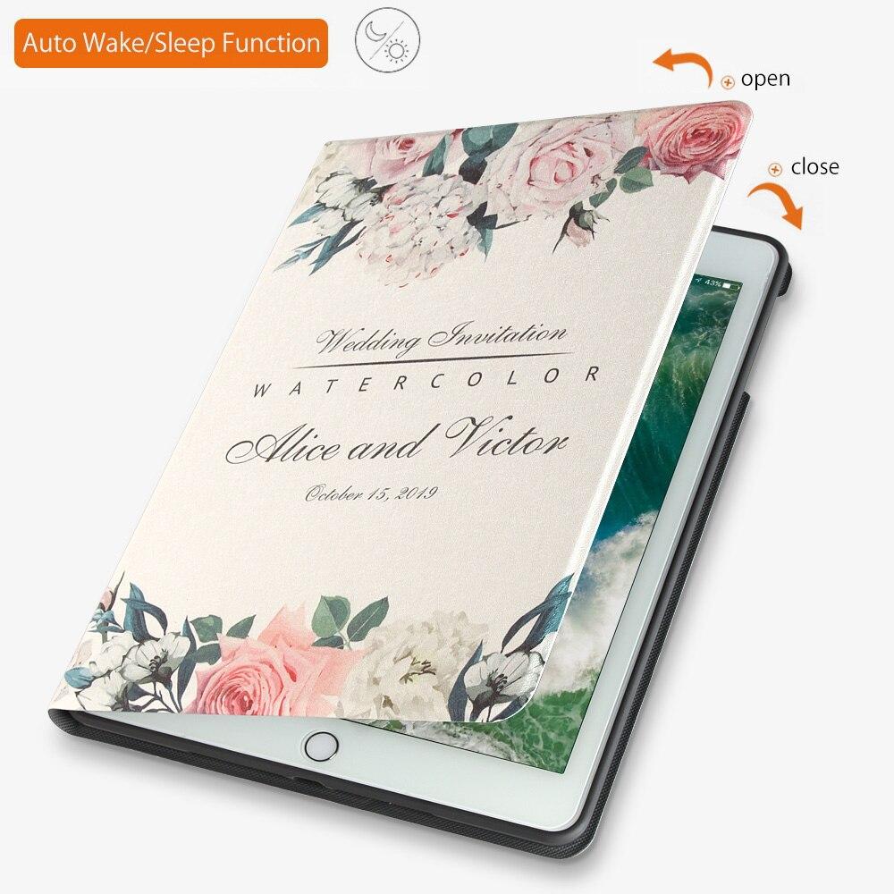 Uus 2017. aasta juhtum 2018 iPad 9,7 tolli Air 2 ZVRUA illustratsioonid Pehme silikoon koos automaatse ärkamise / unerežiimiga statiiviga Smart kate