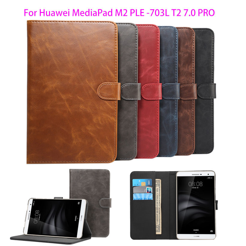 Smart protective leather cover case For Huawei MediaPad M2 Yougth PLE-703L T2 7.0 PRO tablet case Luxury Crazy Horse pattern pu leather case for huawei mediapad m2 lite 7 0 ple 703l 7 inch stand smart cover for huawei t2 7 0 pro tablet case capa fundas
