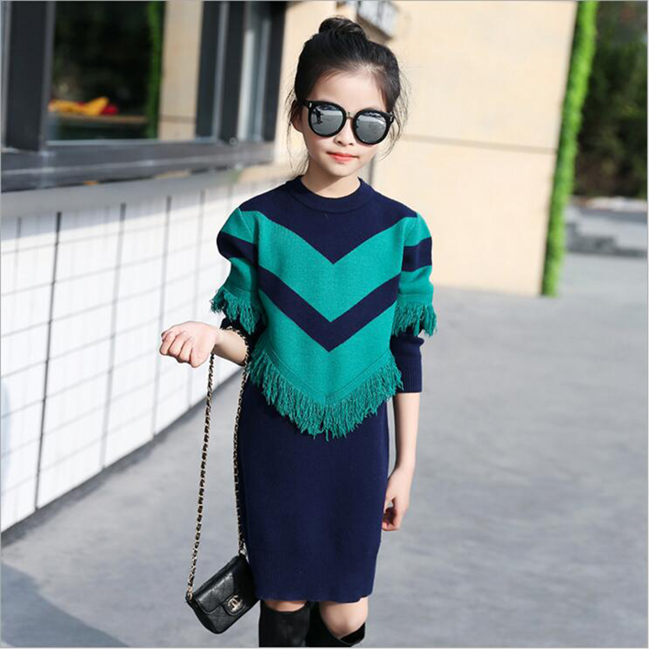 Kids Sweater Dress Spring Autumn Knitted Girls Dress Long Warm Teenage Princess Dress 6 8 10 12 14 Kids Girls Clothes
