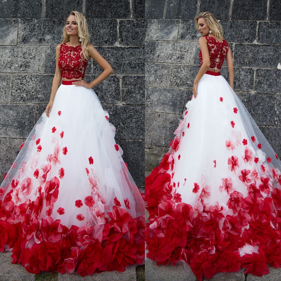 3D Flower Bohemia White Red Lace Tank Wedding Dresses Beach Two Pieces Beach Wedding Gowns Vestido