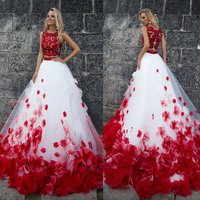 3D Flower Bohemia White Red Lace Tank Wedding Dresses Beach Two Pieces Beach Wedding Gowns Vestido De Noiva Buttom Romantic