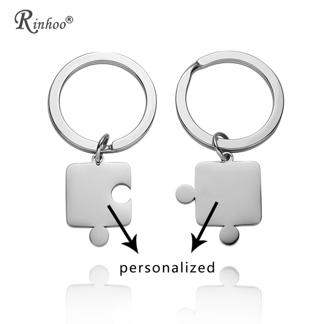 RINHOO 2pcs Stainless Steel Personalized Puzzle Key Rings Custom Keychains  For Women Men Engraved Name Valentine s b2060a170e