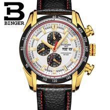 Binger Mens Watches Top Brand Luxury 6 hand Function Chronograph Watch Military Men's Geneva Genuine Leather Quartz Wrist Watch