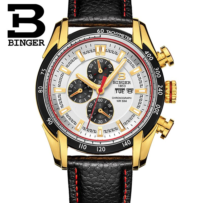 Binger Mens font b Watches b font Top Brand Luxury 6 hand Function Chronograph font b