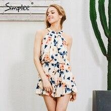 Simplee Halter ruffle women jumpsuit romper Summer beach sleeveless floral elegant playsuit Sexy off shoulder linning