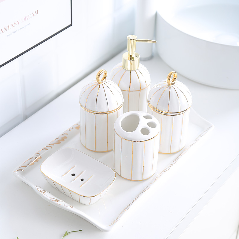 Creative Simple European style Golden rim Bathroom kit Bathroom toiletries ceramics Tray combination