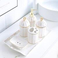 Creative Simple European style Golden rim Bathroom kit Bathroom toiletries ceramics Tray combination