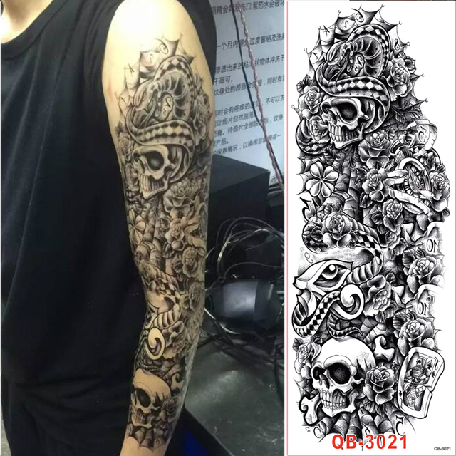 1 unid brazo completo flor pegatinas tatuajes hombro falso - Mangas de tattoo ...