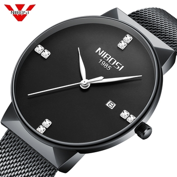 NIBOSI Luxury Diamond Watches Men Ultra Thin Watches Men Classic Quartz Date Blue Stainless Steel Wrist Watch Relogio Masculino