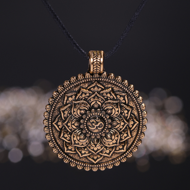 US $1 98  Skyrim Buddhism Mandala Yoga Spiritual Pendant Necklace Talisman  Necklace Religious Geometry Meditation Wicca Amulet Jewelry-in Pendant
