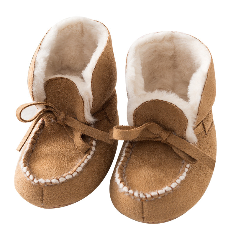 Quality Handmade Baby Moccasins Worm Fleece Winter Baby Booties Cute Camel Gray  Infant Baby First Walkers Toddler Shoes