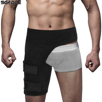 Elastic Thigh Support Compression Brace Wrap Black Sprains Therapy Groin Leg Hip Pain Relief Legwarmers For