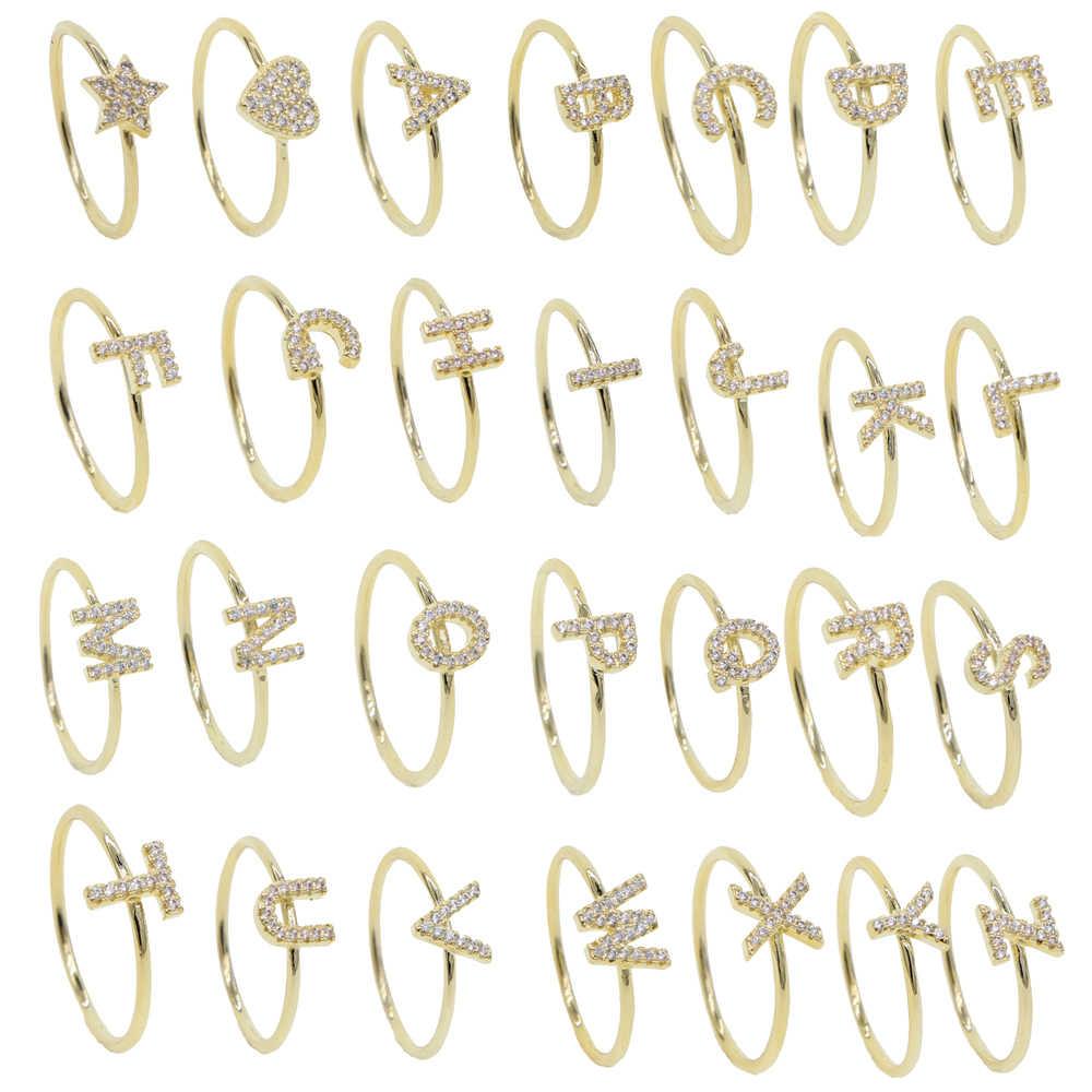 Золотое заполненное минимальное тонкое ювелирное женское кольцо на палец с индивидуальным именем и буквой 26 алфавита