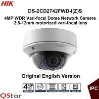 Hikvision Original English Vari Focal IP Camera DS 2CD2742FWD I Z S 4MP Motorized Lens Dome