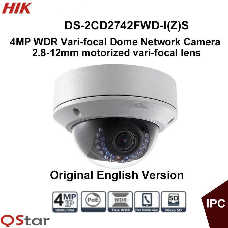 Hikvision English Vari-focal IP Camera DS-2CD2742FWD-IS DS-2CD2742FWD-IZS 4MP Motorized Lens Dome CCTV Camera Audio POE IP67 in stock free shipping english version ds 2cd2742fwd izs audio poe 4mp wdr vari focal motorized lens dome network ip camera