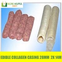 Hot sales !!! 2pcs/Lot halal sausage casing total 28meters Diameter 28mm Edible sausage Collagen skin free shipping