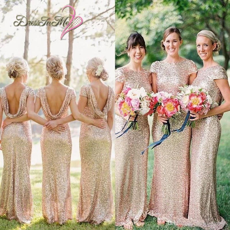 Cowl Back Bridesmaid Dress: 2017 Sparkly Pale Gold Sequined Sheath Bridesmaid Dress