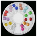 2016 New Nail Rhinestone 6mm Round Starry Resin Design Nail Jewelry for Nail Art Decorations mixed 12 Colors Diamond Box 6cm