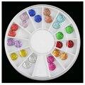 2016 Nueva Nail Estrellada Rhinestone 6mm Ronda Resina Nail Design joyería para Decoraciones Del Arte Del Clavo mezclado 12 Colores Caja Del Diamante 6 cm