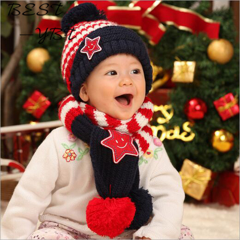 New Cute Winter Baby Pentacle Wool Lovely Hat  Winter Ear Smiling Face Cap Sleeve Baby Warm Hat Scarf Head Cap Set