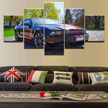 Home Decor HD Printed High Quality Canvas Oil Painting 5 Panel Wall Art Car Ford Mustang Picture For Living Room