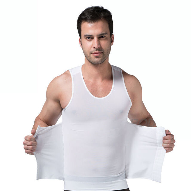 PRAYGER New Compression Gynecomastia Shaper Men Slimming Belly Girdle Corset Control Abdomen Tops Hook Tummy Trimmer Shirt 1