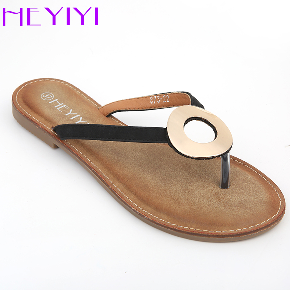 Flip Flops Women Shoes Summer Flat Slides Beach Shoes Comfortable Rubber Soft Sole Circle Large Size Black White Beige HEYIYI wholesale 5 beige rubber soft front insole for ladies fit any shoes