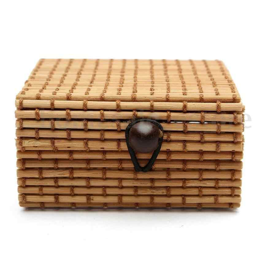 Vintage Bamboo Weaving Storage Box Jewelry Necklace Retro Sundries Organizer Soap Makeup Cosmetic Holder Button Switch Container