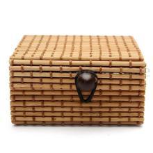 Caja de almacenamiento de bambú Vintage, collar de joyería, organizador de varios artículos, jabón, maquillaje, Sostenedor cosmético, botón, cambio de contenedor