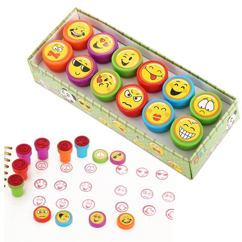 Cartoon Round Stamp Toys For Children 12pcs DIY Handmade Craft Students Stamps Toys Book Decro Teacher Seal Kids Art Toys