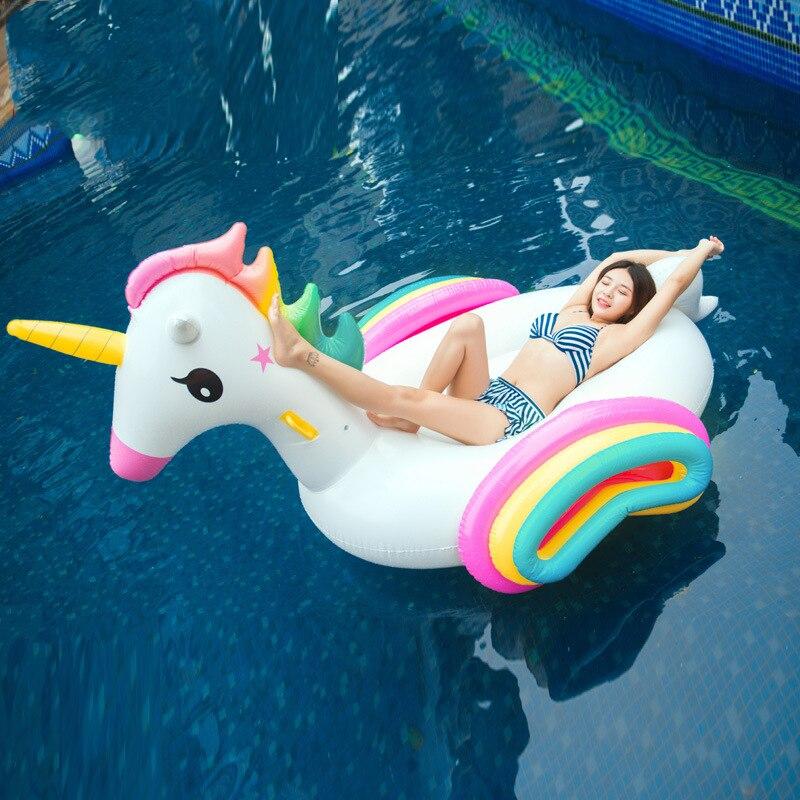 220 CM géant licorne piscine flotteur arc-en-ciel coloré gonflable matelas Ride-on anneau de natation fête Fun eau jouet pour enfants adulte