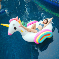 220CM Giant Unicorn Pool Float Rainbow Colorful Inflatable Mattress Ride on Swimming Ring Party Fun Water Toy For Children Adult