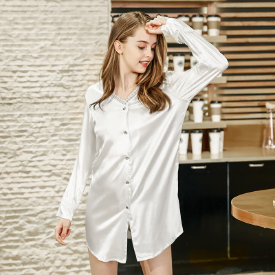 New Design Women Satin   Nightgown   Fresh White   Sleepshirt   Summer Autumn Mini Nightdress Sexy Hollow-Out V-Neck Sleepwear Home Wear