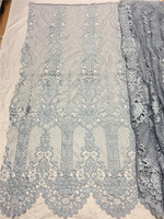 2017 New Design Gray Color Cord Embroidered Lace Fabric Water Soluble Lace Material High Quality Embroidered