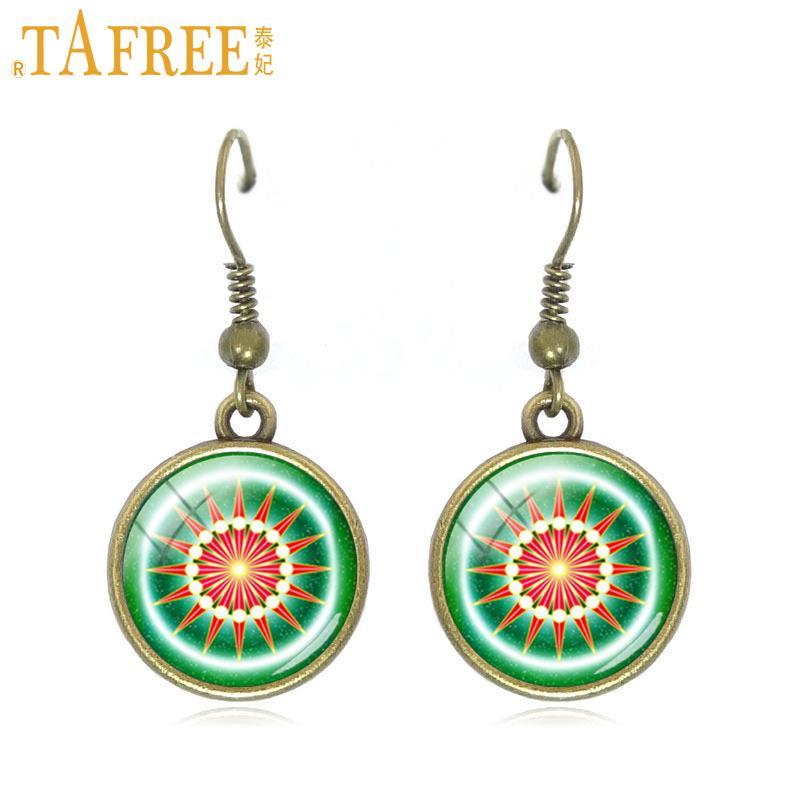 TAFREE beautiful Sri Yantra earrings for women geometrical pattern drop earrings vintage ethnic style gift jewelry C375