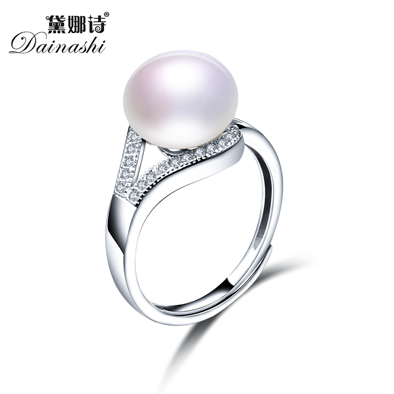 2019 New Trendy Pearl Jewelry Luxury Rings 100% Genuine Real Natural Freshwater Pearl Adjustable Ring For Mother Gift,8mm Pearl