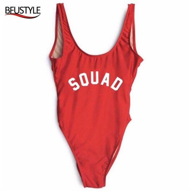 BFUSTYLE Одна деталь купальник сексуальный плавательный костюм Для женщин ванный комплект Монокини большого размера SQUAD Высокая Талия забавные купальники бодисьют