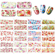 Large(12 Sheets In One Set) Mix Flower Designs Nail Water Decal Stickers  Art Tattoo DIY BN001-012