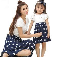 Платье для мамы и дочки с сердечками на лето
