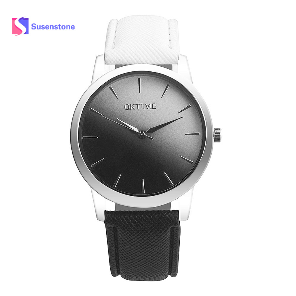 New Retro Style Rainbow Design Lover's Watch Soft Solid Trend Leather Band Analog Ladies Fashion Casual Alloy Quartz Wrist Watch