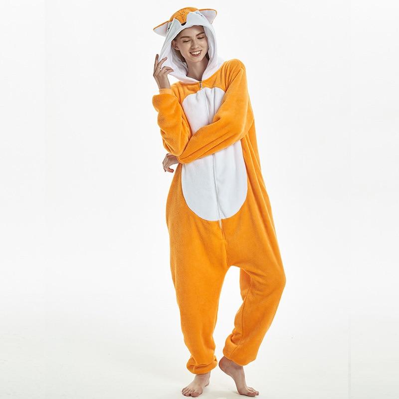 Amusing Orange Fox Animal Kigurumi Flannel Onesie Soft Women Pajamas Party Bodysuit Cosplay Unisex Sleepwear Halloween Pyjamas (2)