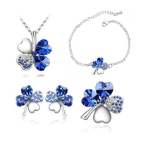 Free Shipping 2014 New Fashion Jewelry Set Noble Popular Crystal Four Leaf Clover Necklace Stud Earring