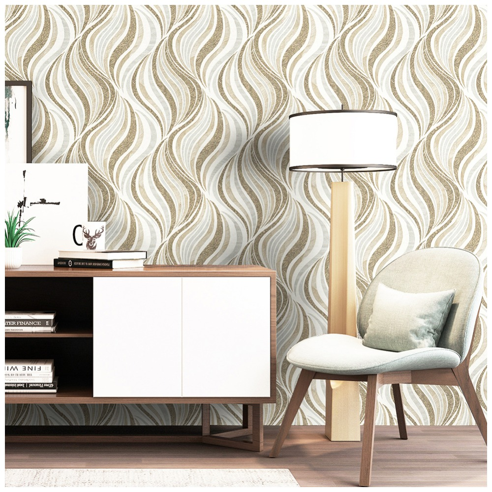 HaokHome Modern Stripe/Wave  Peel and Stick Wallpaper roll for wall 3D Brown/White/Gray Contact Paper living room HaokHome Modern Stripe/Wave  Peel and Stick Wallpaper roll for wall 3D Brown/White/Gray Contact Paper living room