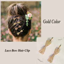 2019 Hot Sale Women Girls Elegant gold color Alloy bow shape Hair Clips Barrettes Hairpins Female Hair Styling Accessories F006 hot sale elegant style conterminal loop shape rhinestone embellished women s hair band