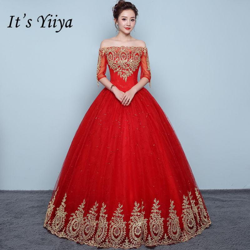 It's YiiYa Vintage Embroidery Red Wedding Dresses Sexy Boat Neck Floor Length Bride Frock Vestidos De Novia XXN199