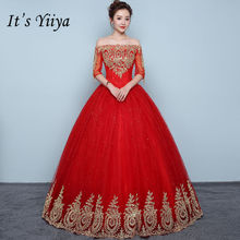 Купить с кэшбэком It's YiiYa Vintage Embroidery Red Wedding Dresses Sexy Boat Neck Floor Length Bride Frock Vestidos De Novia XXN199