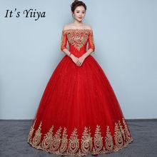 Vestidos De Novia rojos bordados Vintage It's YiiYa, Vestidos sexis hasta el suelo con cuello Barco, Vestidos De Novia XXN199