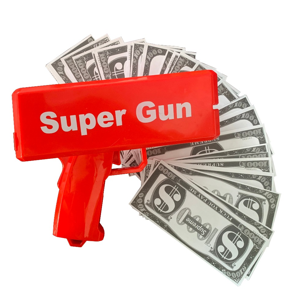 Cash Money Gun, A Cash Rain Money Toy Gun,  Super Gun Toys 100PCS Bills Party Game Outdoor Fun Fashion Gift Pistol Toys